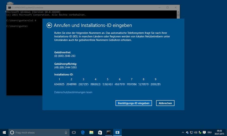 Unter Umständen muss Windows 10 per Anruf aktiviert werden.