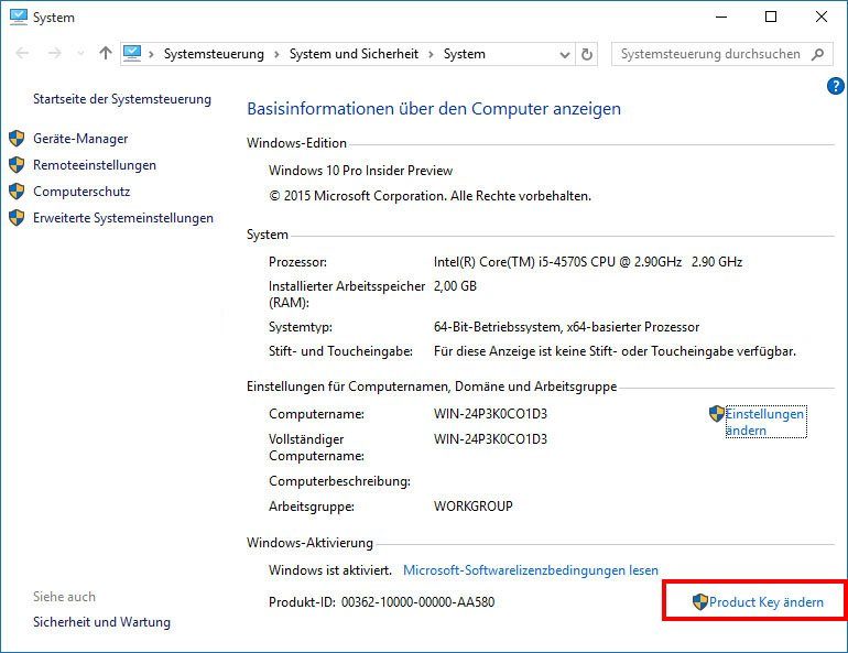 Windows 10: Hier ändert ihr euren Product Key.