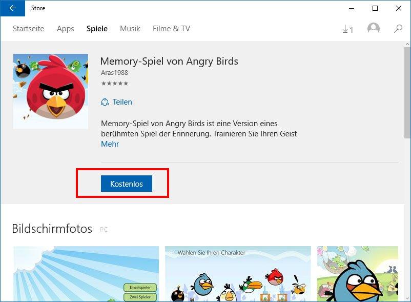 """Klickt auf den Button """"Kostenlos"""", um Apps in Windows 10 zu installieren."""