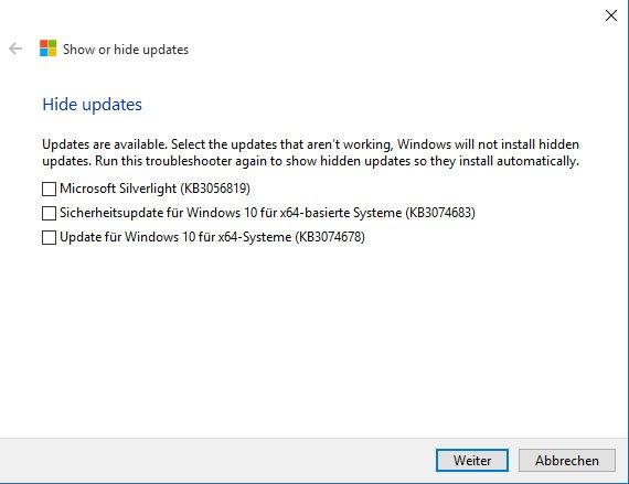 Windows 10: Wählt die fehlerhaften Windows-Updates oder -Treiber aus.