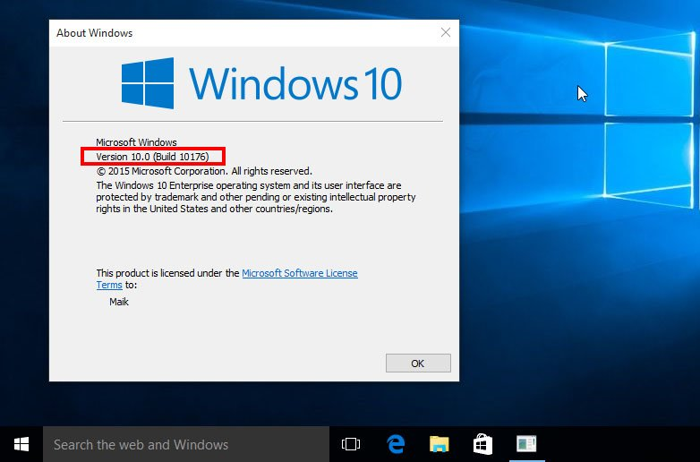 Hier läuft Windows 10 in der Version 10.0 (Build 10176).