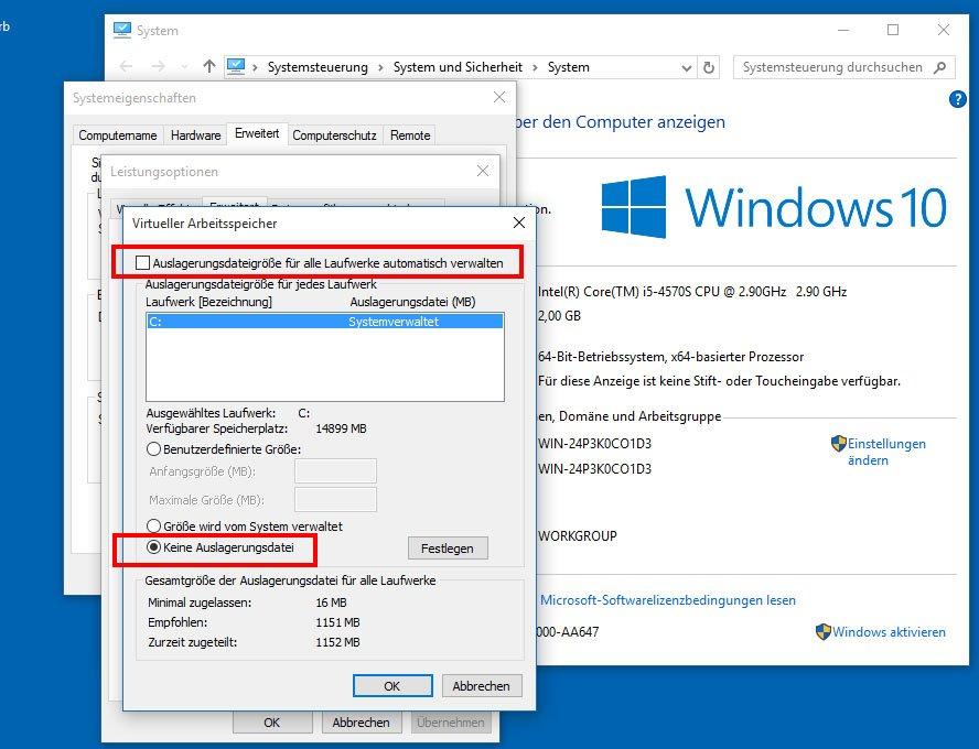 Windows 10: Virtueller Arbeitsspeicher deaktivieren.