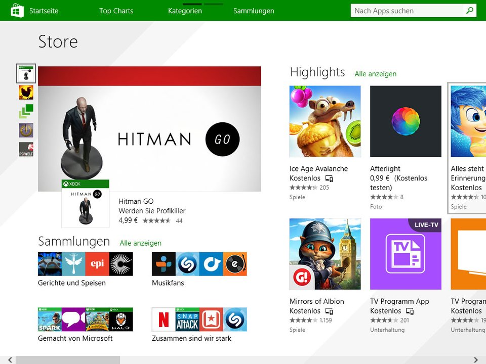 Der Windows Store aus Windows 8 sieht anders aus als in Windows 10.