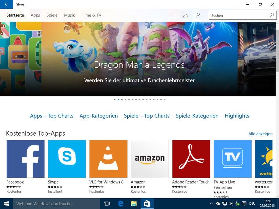 Unter Windows 10 installiert ihr Apps über den Windows Store auf dem PC.