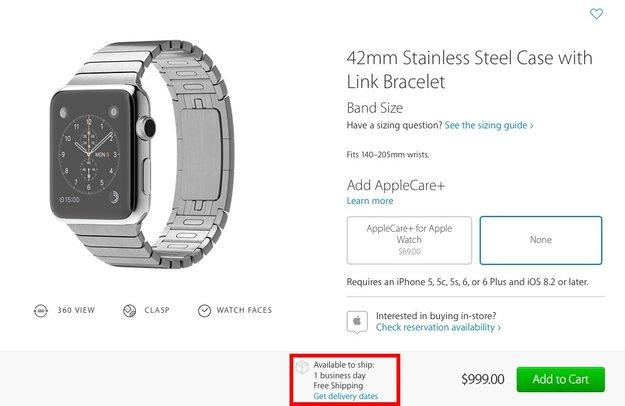 Apple kann Apple-Watch-Nachfrage jetzt weitgehend bedienen