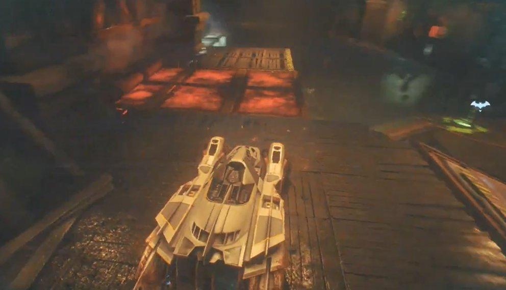 Vom Bodenschalter aus steuert ihr mit Batman das Batmobil.