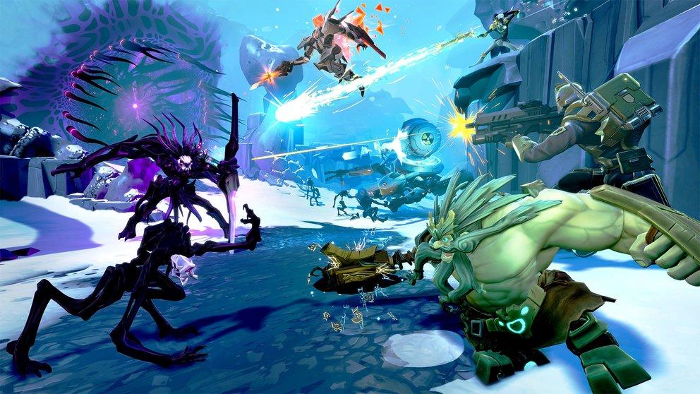 Erlebt einen epischen Kampf im Helden-Shooter Battleborn.
