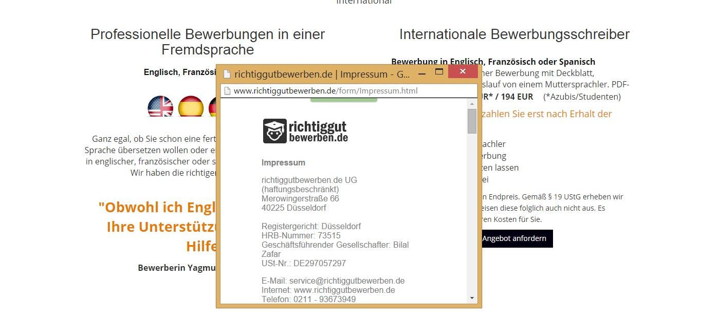 bewerbung schreiben lassen impressum anbieter Screenshot via  richtiggutbewerben.de.