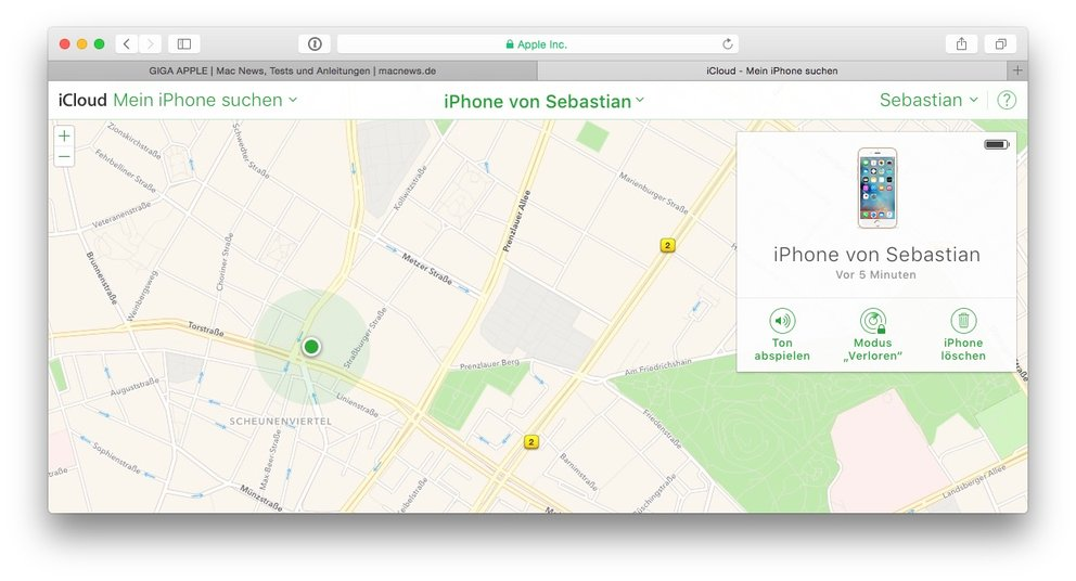 iphone orten hotline