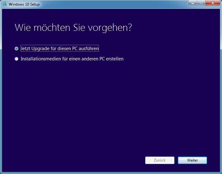 Das Media Creation Tool von Microsoft gibt euch beim Start zwei Optionen zur Auswahl.