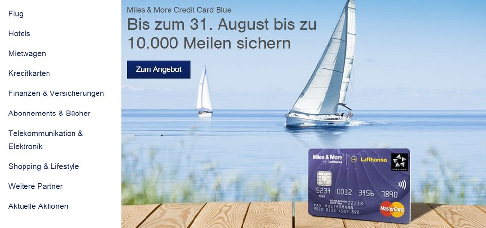 miles and more - bis 31 august sonderaktion 10000 meilen