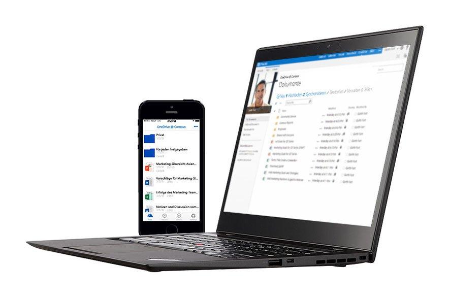 Dateien in OneDrive könnt ihr über das Internet auf PC, Notebook oder Smartphone abrufen.