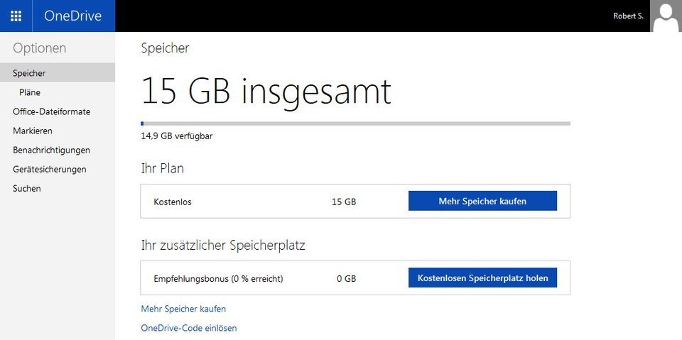 Bei OneDrive bekommt ihr 15 GB Speicherplatz kostenlos.