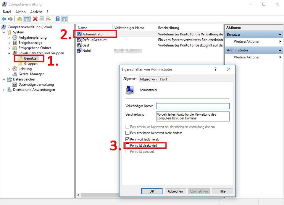 Windows 10: Hier aktiviert ihr das Administrator-Konto.