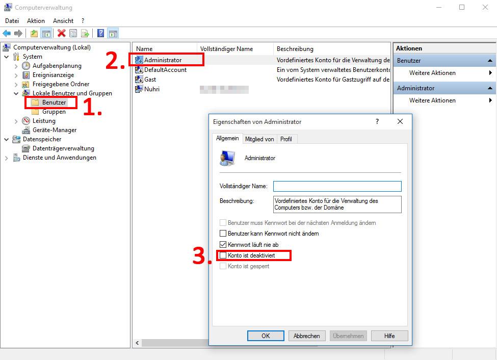 Administratorrechte Windows 10