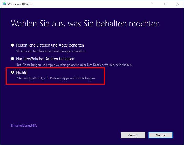 """Mit der Einstellung """"Nichts"""" wird alles während der Windows-10-Installation gelöscht."""