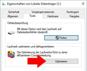Hier defragmentiert ihr eure Festplatte