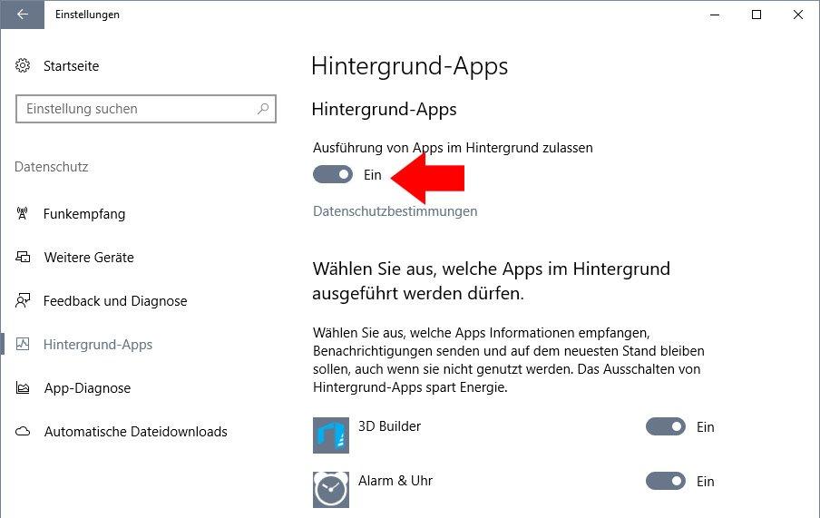 Hier deaktiviert ihr alle Hintergrund-Apps auf einmal