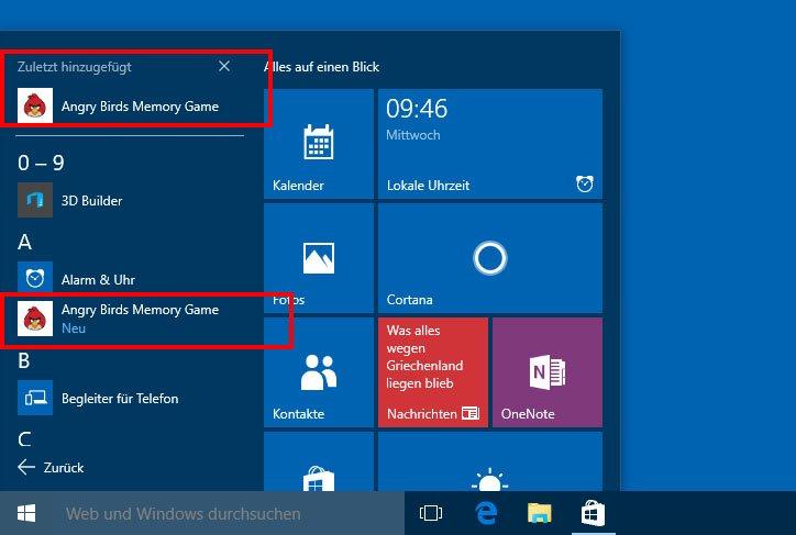 """Installierte Apps zeigt Windows 10 unter """"Zuletzt hinzugefügt"""" an und in der App-Liste."""