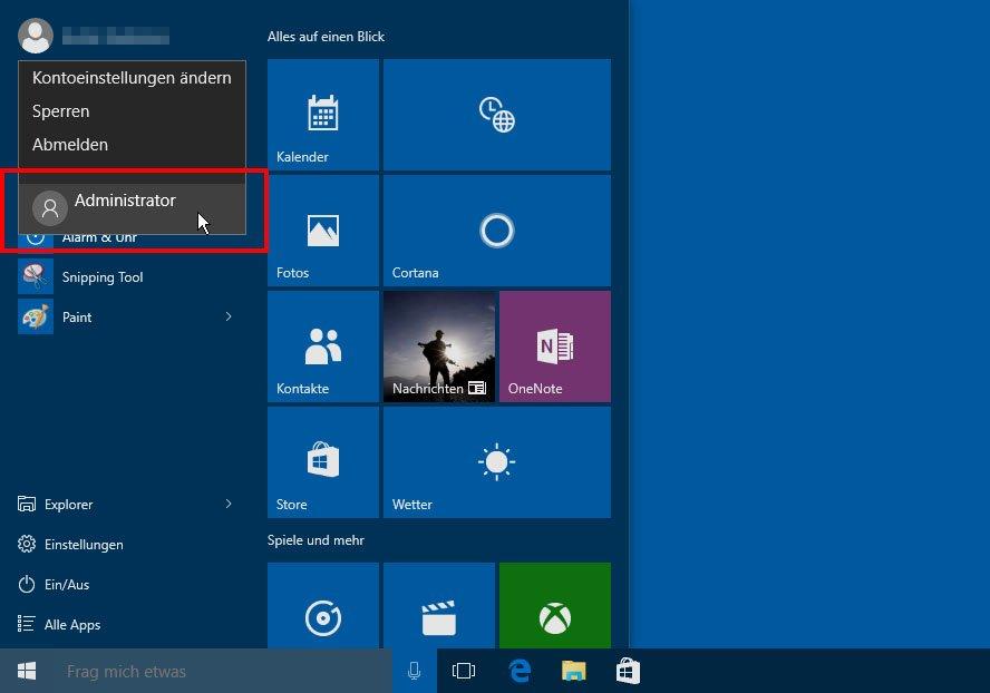 Windows 10: Über das Startmenü meldet ihr auch als Administrator an.