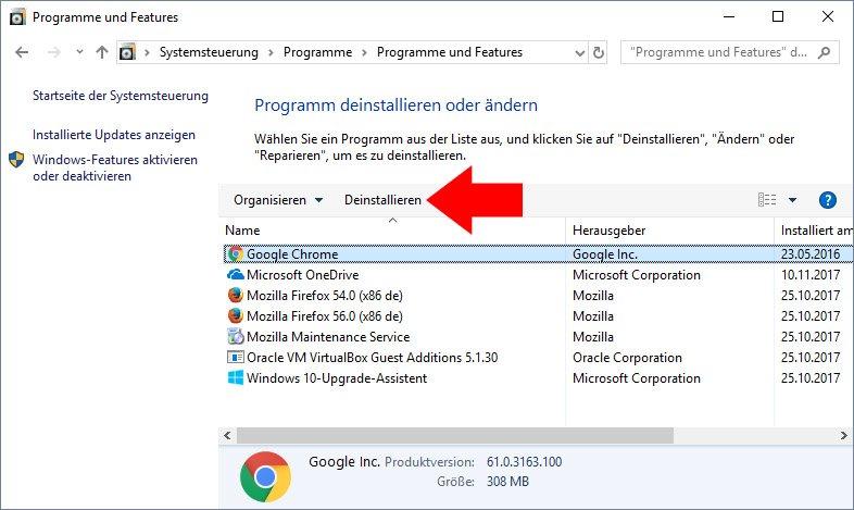 Klickt hier, um beispielsweise Chrome zu deinstallieren