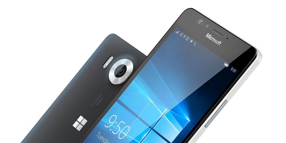 Das ist die Front- und Rückseite des Lumia 950.