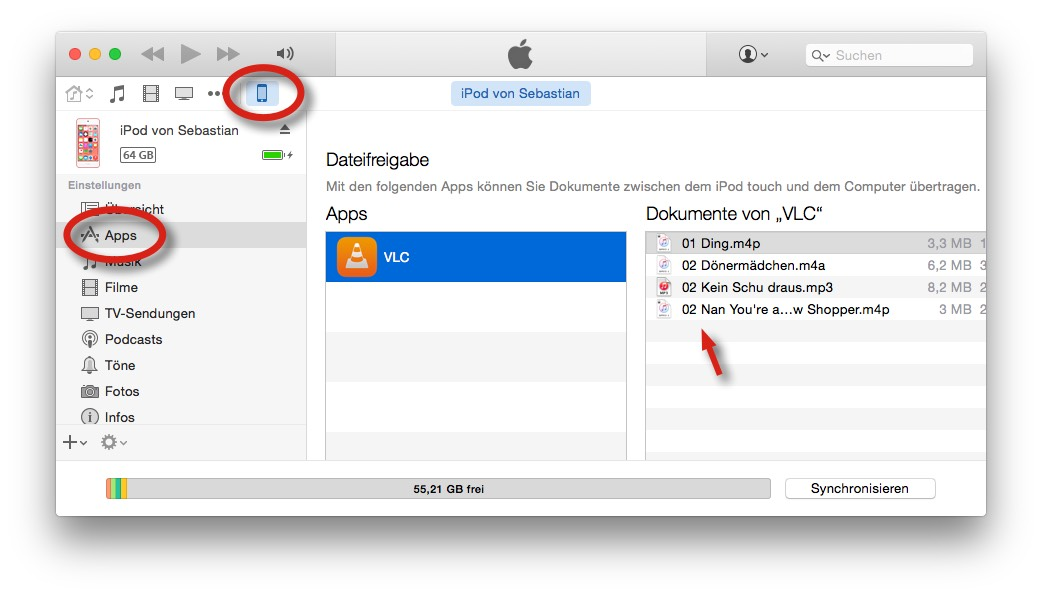 Apps von iphone in itunes übertragen