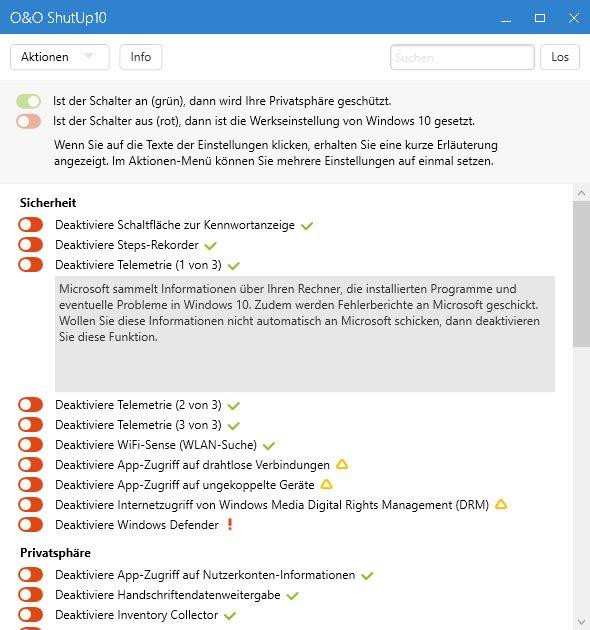Mit O&O ShutUp10 passt ihr Datenschutz-Einstellungen in Windows 10 an.