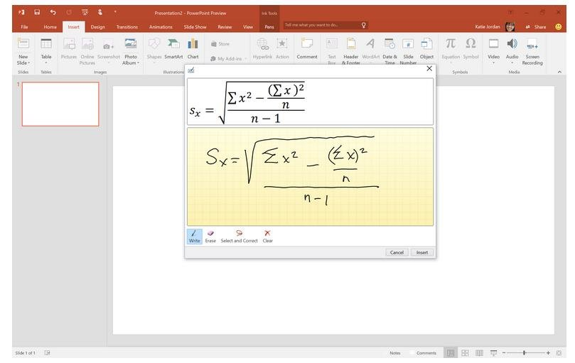 Office 2016 Convert Equations