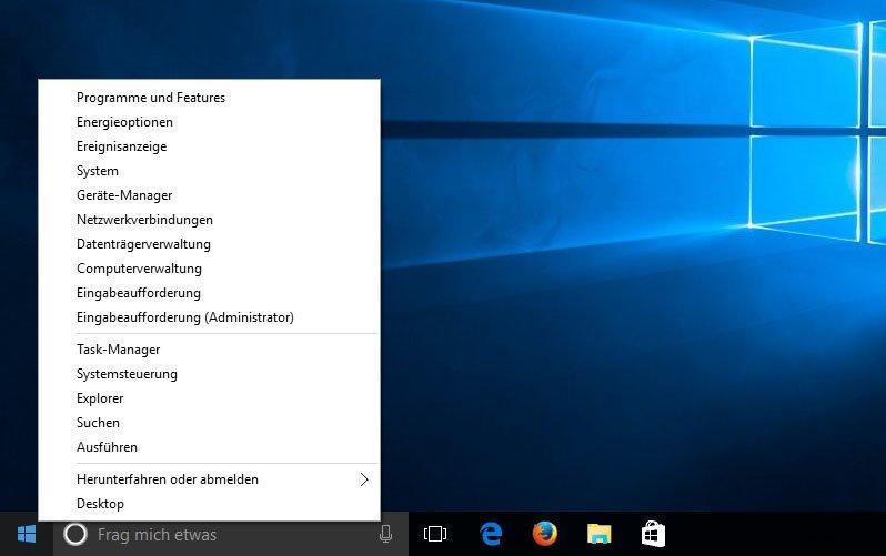 Die Tastenkombination Windows + X öffnet das Kontextmenü des Startmenüs.