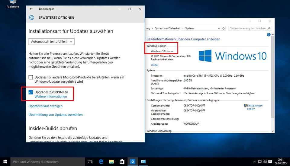 Windows 10 Home updates zurückstellen