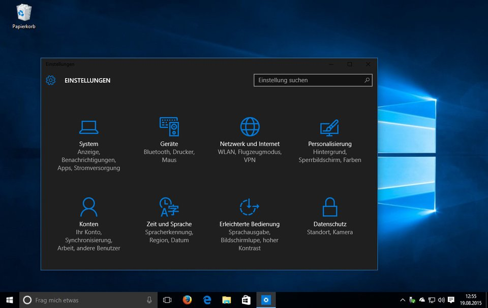 Windows 10 mit aktiviertem Dark Theme.
