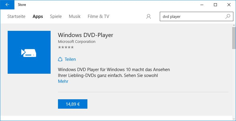 Windows Store: Die App Windows DVD-Player kostet im Windows Store 14,89 Euro.