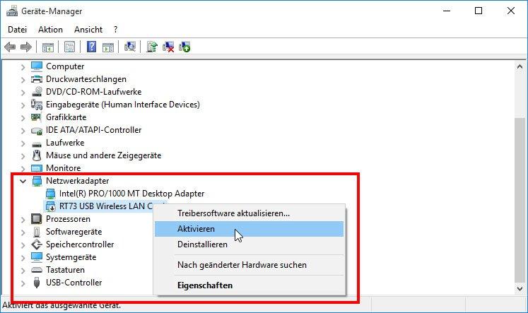 Windows 10: Der WLAN-Adapter ist deaktiviert und muss aktiviert werden.