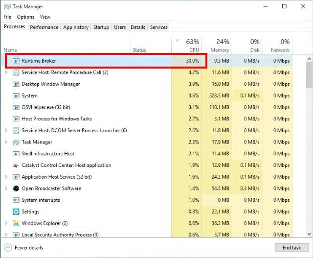 Windows 10: Der Prozess Runtime Broker verbraucht permanent zu viel CPU-Auslastung.