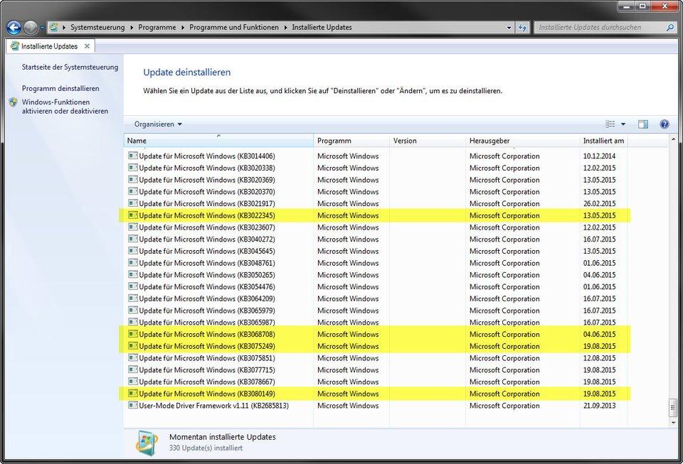Diese vier Updates sammeln in Windows 7 und 8 Telemetrie-Daten.