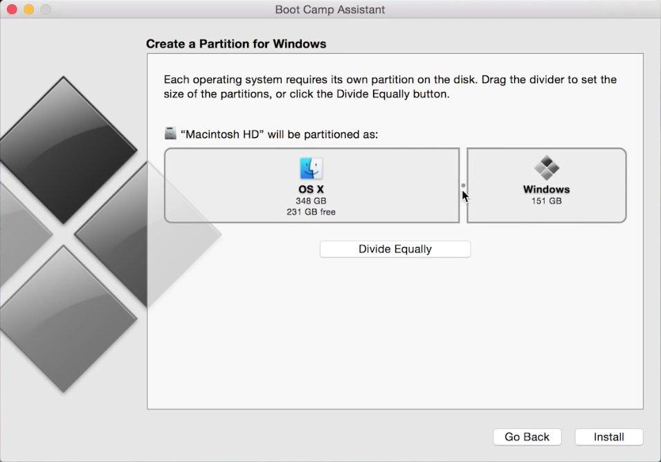 Boot Camp: Stellt hier die gewünschte Größe für die Windows-Partition ein.