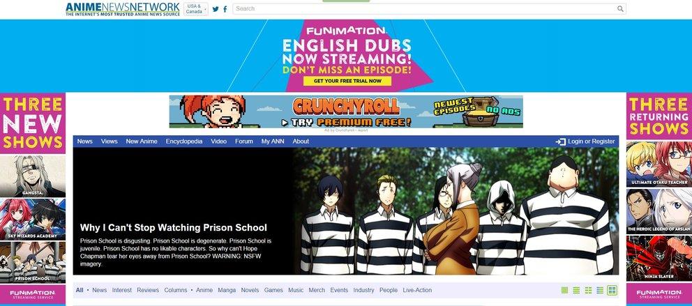 Anime News Network Screenshot Der Website Startseite