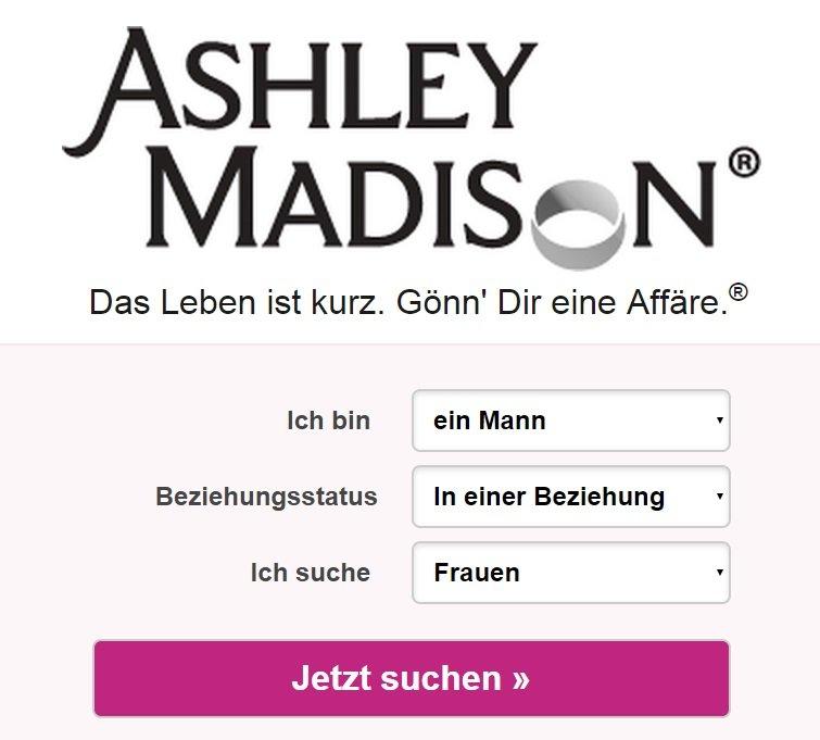 ashley madison screenshot von der seite anmeldung