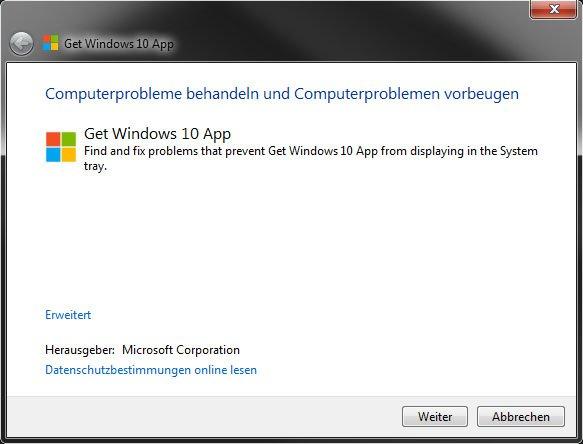 """Der Microsoft-Troubleshooter prüft, warum die """"Get Windows 10""""-App mit dem Upgrade Advisor nicht angezeigt wird."""