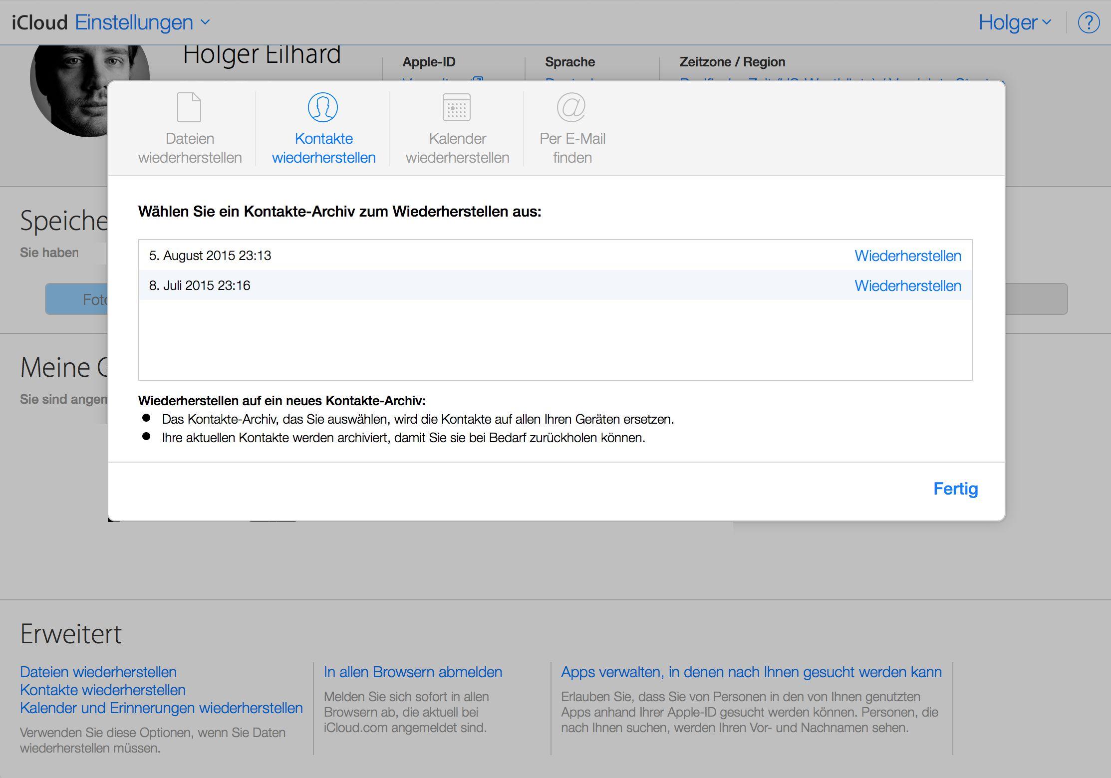Icloud Com Geloschte Dokumente Kontakte Und Kalendereintrage Wiederherstellen