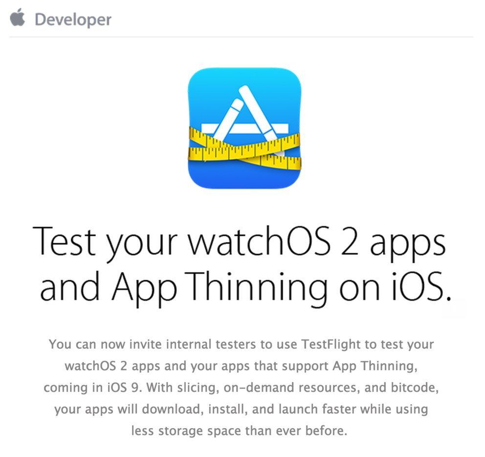 iOS TestFlight iOS 9 watchOS 2