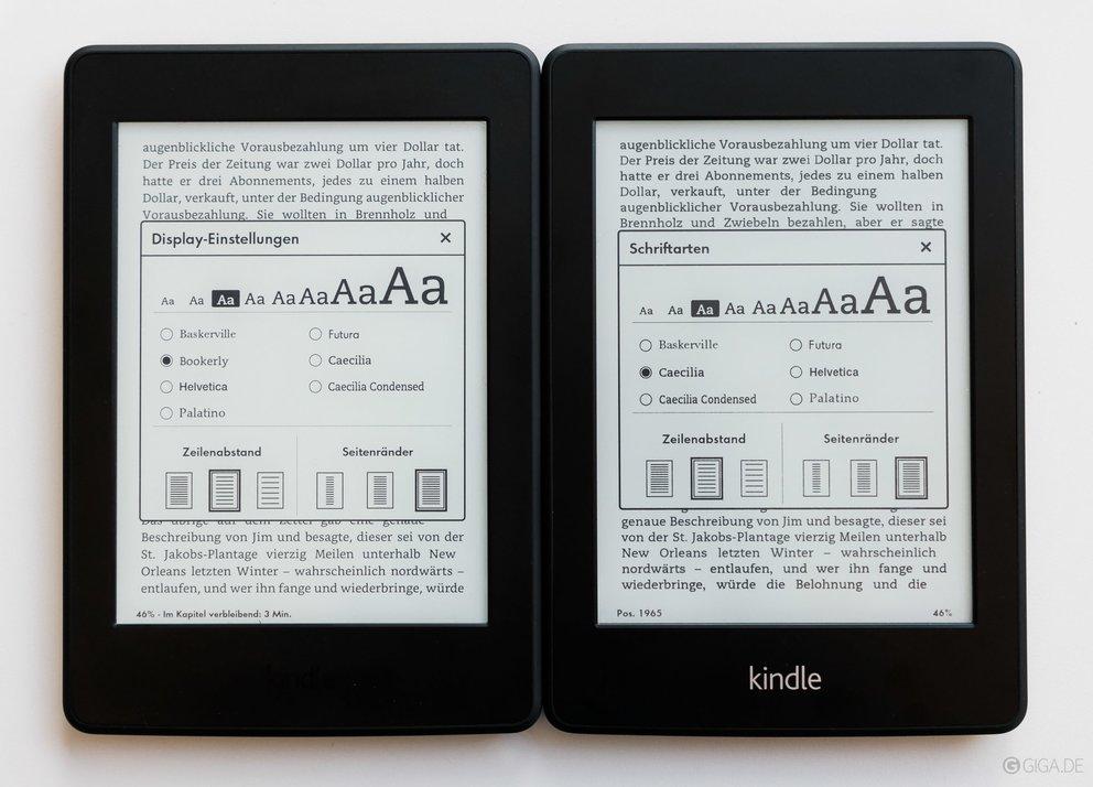Der Kindle Paperwhite von 2015 (links) im Vergleich mit der ersten Generation.