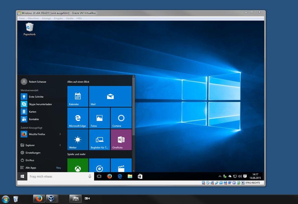 Mit Virtualbox installiert ihr Windows in einem Programm-Fenster unter eurem derzeitigen Betriebssystem.