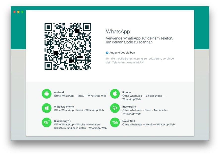 Scannt den QR-Code mit dem iPhone ein, um WhatsApp auf dem Mac zu nutzen.