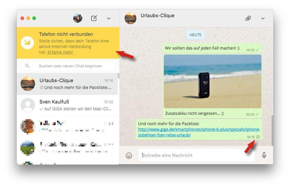 Bei keiner Internetverbindung des iPhones sendet WhatsApp auf dem Mac nichts.