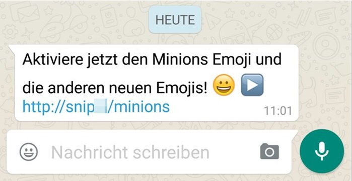 minions emoji bei whatsapp vorsicht werbespam giga. Black Bedroom Furniture Sets. Home Design Ideas