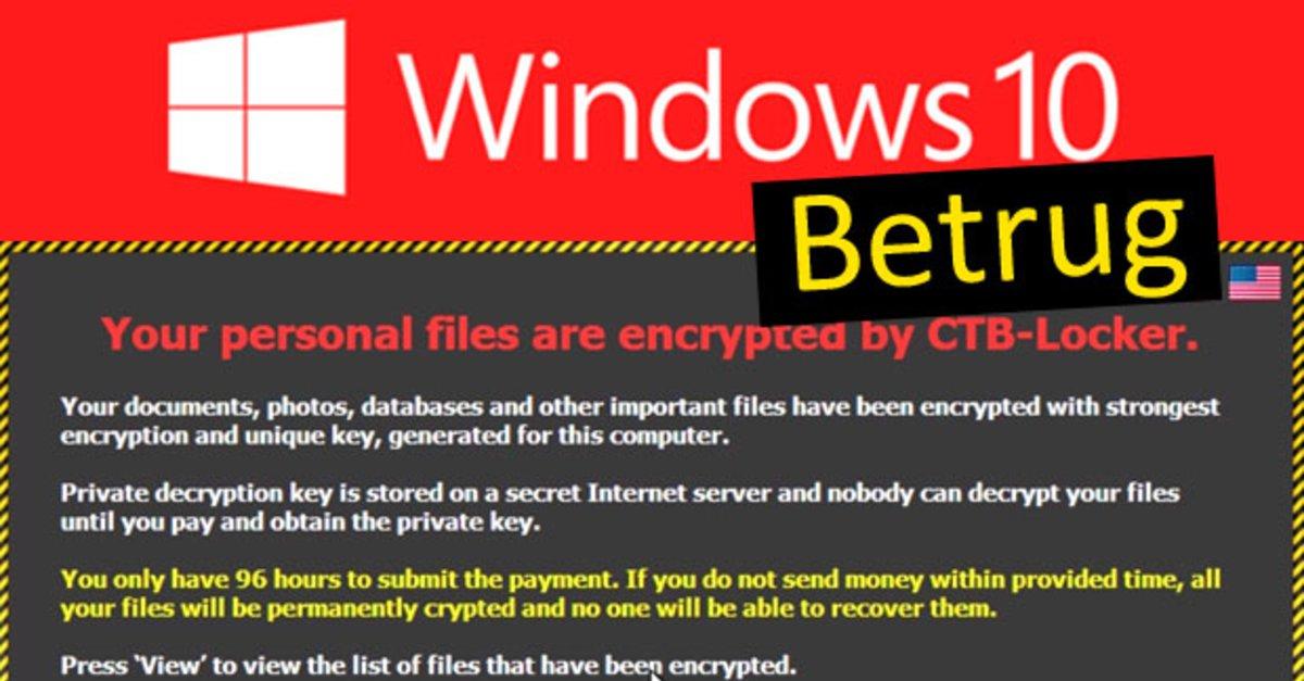 Windows-10-Betrug per E-Mail: CTB-Locker verschlüsselt