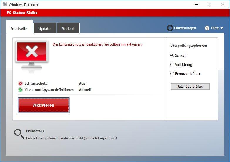 Windows 10: Defender ist deaktiviert.