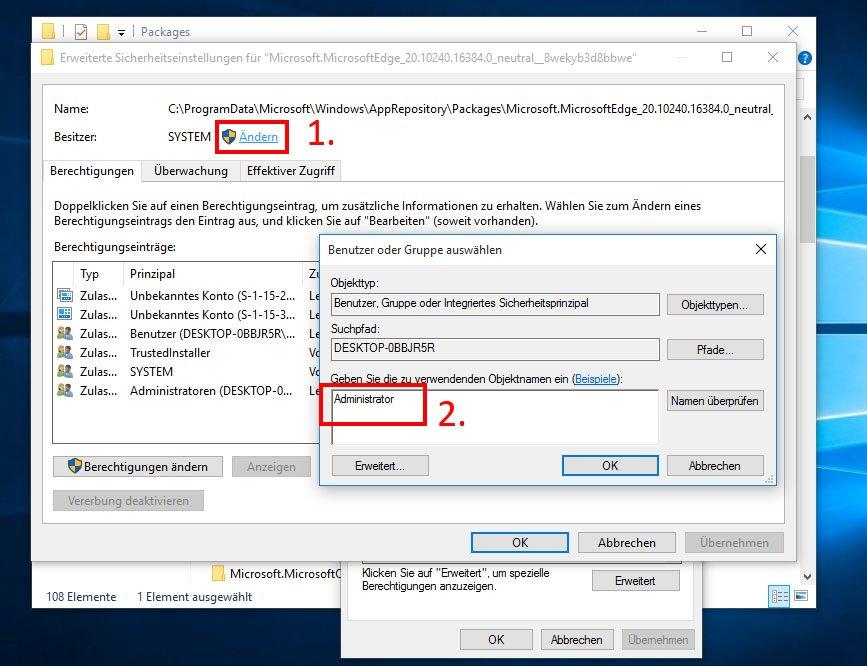 Das Administrator-Konto muss erst als Besitzer der Dateien eingetragen werden.